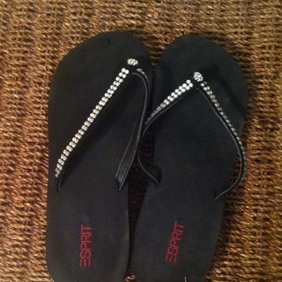68 off esprit shoes pretty black rhinestone flip flops. Black Bedroom Furniture Sets. Home Design Ideas