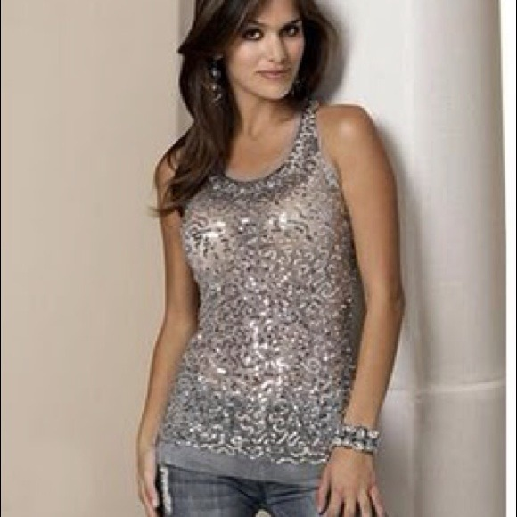 modern style kid enjoy free shipping Silver sparkly sequenced top from Body Central