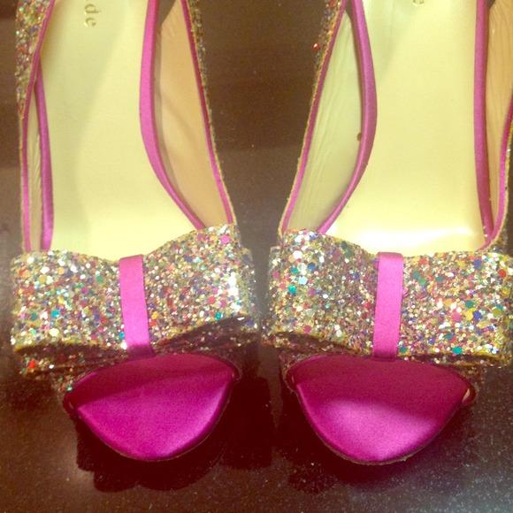 "Kate Spade ""Charm"" glitter heels"