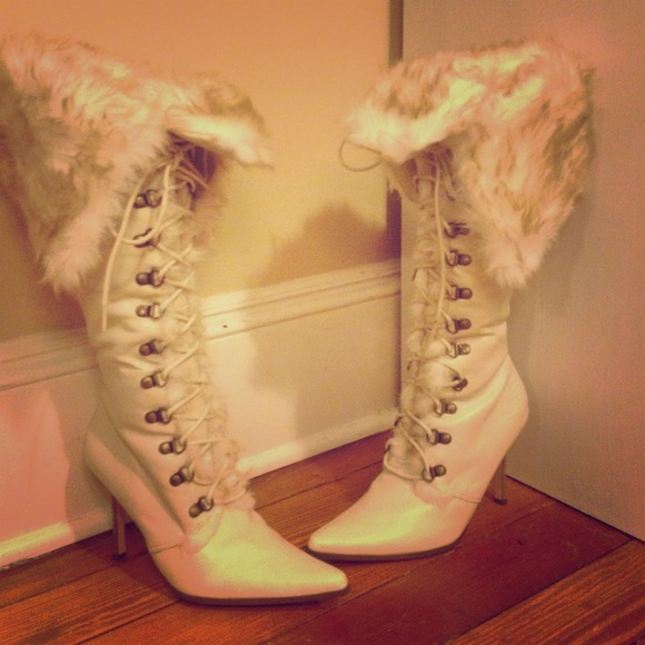 Shoes - Knee High Stiletto Fur Boots