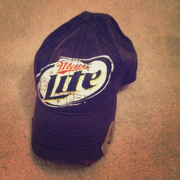 75f9c8956122e Miller lite baseball cap with bottle opener. M 524abd408ae4a07b3a04d064