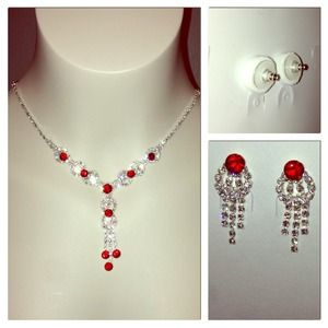 Jewelry - Sparkling Red w/ Rhinestones Design Matching Set