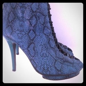 Faux leather snake skin print heels