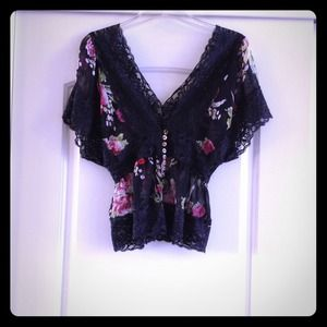 Sheer floral blouse with lace detail