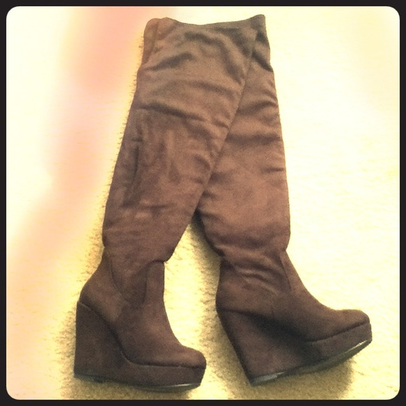38% off Shoedazzle Boots - •Brown Over-the-Knee Suede Wedge Boots ...