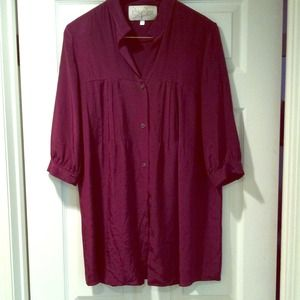 Maroon dress shirt or even a dress with belt!
