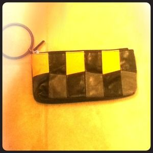 Retro black, yellow and gray clutch