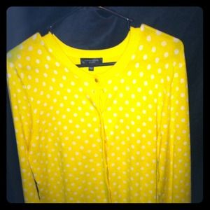 Bright yellow w/ white polka dot cardigan/ sweater