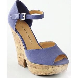 NEW LC Periwinkle Cork Wedge Sandals