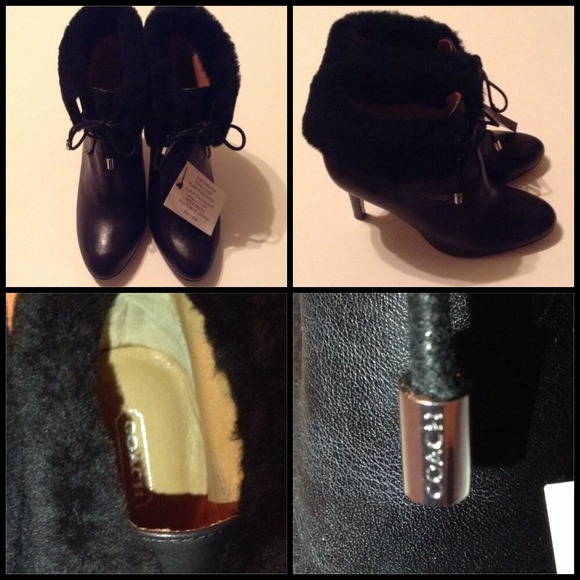 Coach Shoes - NWT Coach Malia Soft Sheep Fur Tie-up Booties