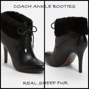 Coach Shoes - NWT Coach Malia Soft Sheep Fur Tie-up Booties