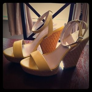 Xhilaration Shoes - Yellow Faux Leather Wedge Heels