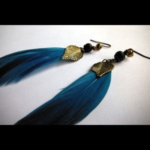 Feather and bronze leaf earrings