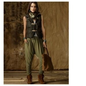 Pants - Chic Military Green Jersey Pleated Harem Pants