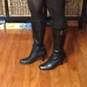 Black leather knee high boots, size 7.5 M