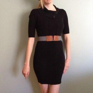 Black button collar sweater dress with belt
