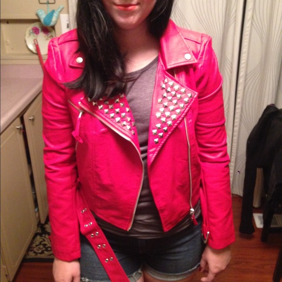 Red Leather Jacket Forever 21 Forever 21 Jackets