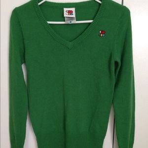 """""""special blend"""" green sweater."""