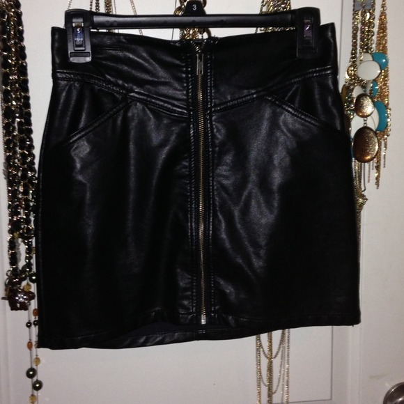 front zip leather skirt dress ala
