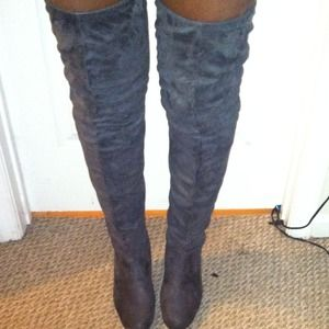 20% off Frederick's of Hollywood Boots - Grey Over the knee thigh ...