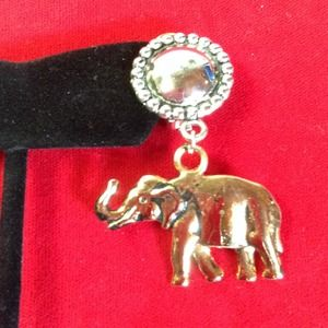 Elephant Clip on Earrings   Gold and silver tone
