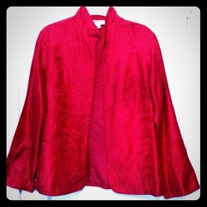 💙SOLD💙Anü by Natural Embroidered Red Silk Jacket