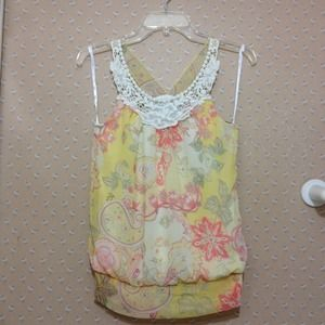 Yellow florals print top