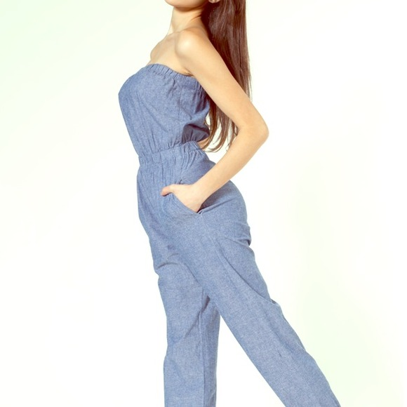 7713712695f American Apparel Pants - RESERVED- American Apparel Chambray Jumpsuit
