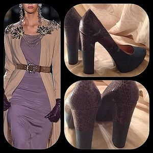 Belle by Sigerson and Morrison Shoes - Sigerson dark teal suede and lavender snakeskin