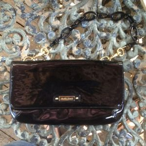Charles David Patent Purse w Black Lucite & Gold