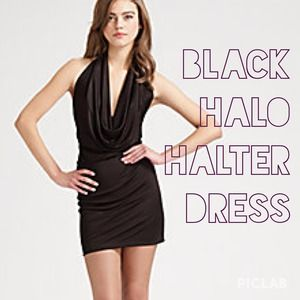 Black halo halter dress