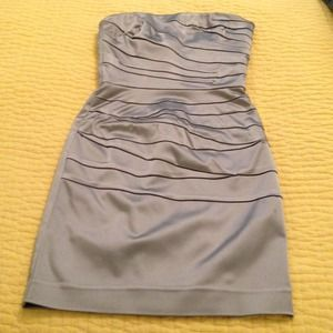 Bebe silver strapless dress