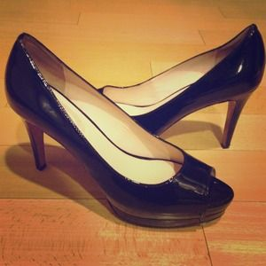 Elie Tahari black patent pumps