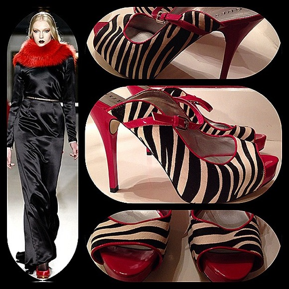Guess Shoes - Guess peep toe zebra and red calf hair heels