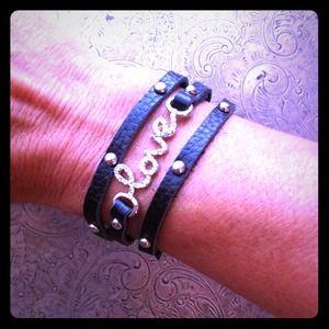 "Leather, Studs & Rhinestone ""Love"" Wrap bracelet."