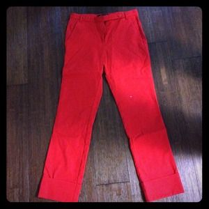 Zara woman red cropped pants sz small mint