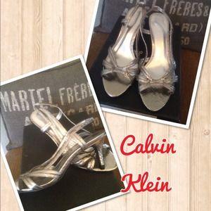 Calvin Klein metallic grey silver heels