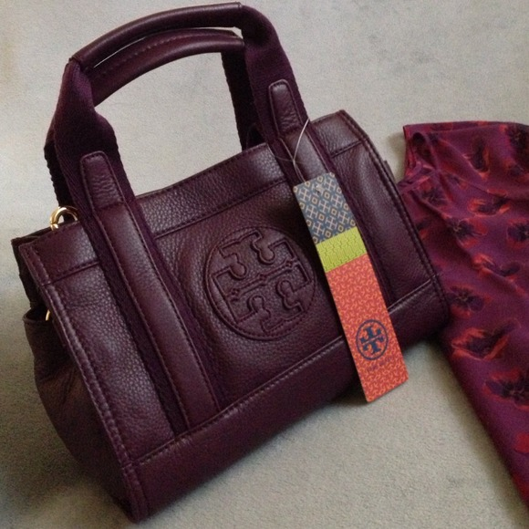 Tory Burch Handbags - Tory Burch Leather Tiny Tory Tote Violet