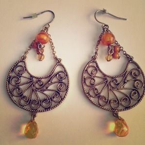 Orange and Gold Boho Earrings