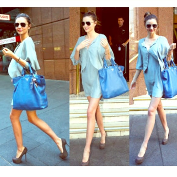 21% off Prada Handbags - Miranda Kerr Authentic Prada Blue Tote ...