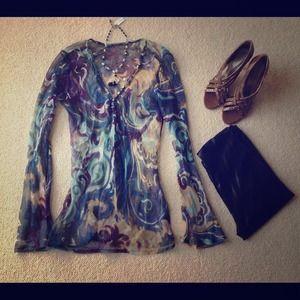 Tops - ✨SOLD✨Chiffon sheer flare Sleeves long blouse