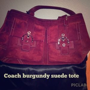 Coach Bags Price Red Burgundy Suede Leather Tote Poshmark