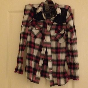 material girl Tops - Flannel with Lace cut out