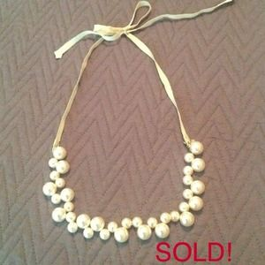 BUNDLED.  j.crew pearl bauble and ribbon necklace