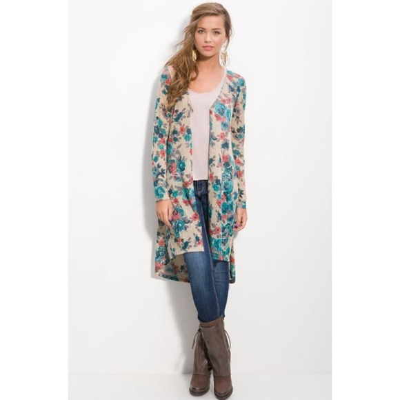 40% off Sweaters - Long floral print duster cardigan Nordstrom sz ...