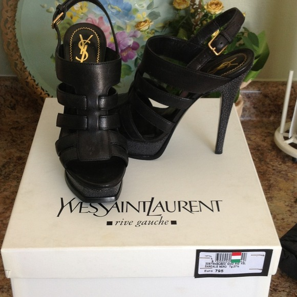 Yves Saint Laurent Shoes - Reduced! NWT YSL Black leather and Eel sandals