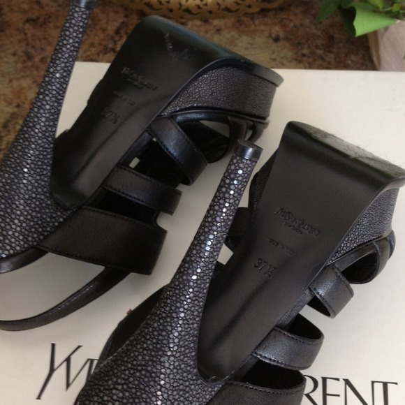 Yves Saint Laurent Shoes - Reduced! NWT YSL Black leather and Eel sandals 3