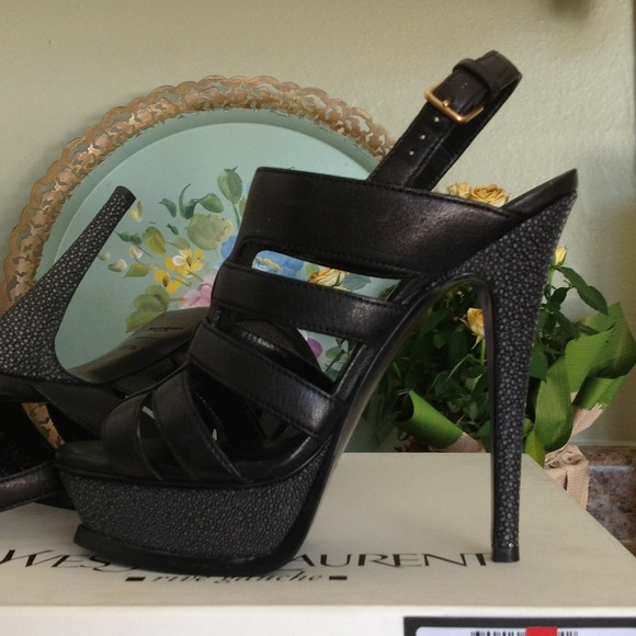 Yves Saint Laurent Shoes - Reduced! NWT YSL Black leather and Eel sandals 4