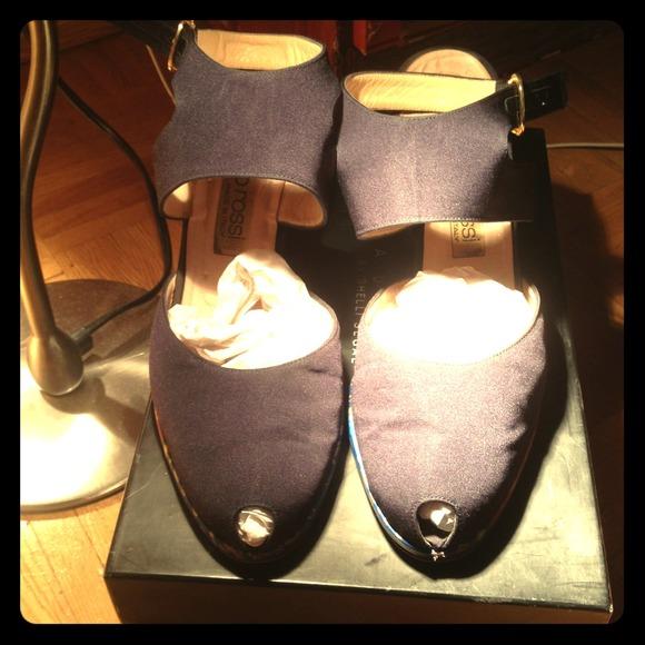 Sergio Rossi Shoes - Vintage Sergio Rossi Navy Peeptoe Sandals