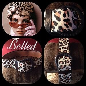 Accessories - Leopard calf hair and leather belt